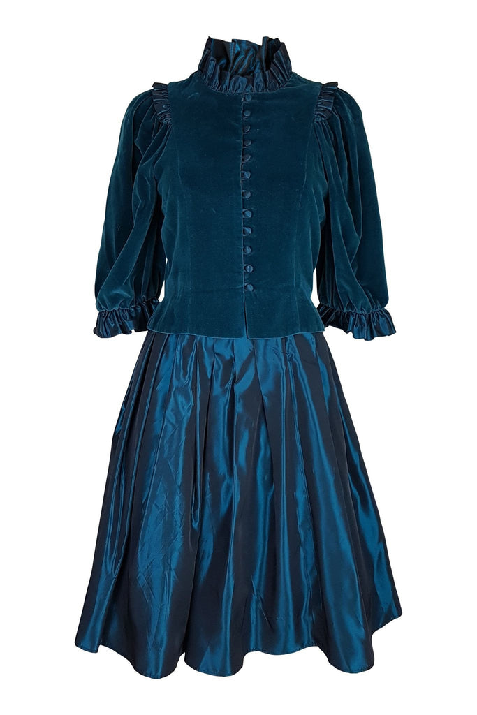 VINTAGE CAROLINE CHARLES Taffeta Skirt and Velvet Jacket Suit (8)-Caroline Charles-The Freperie