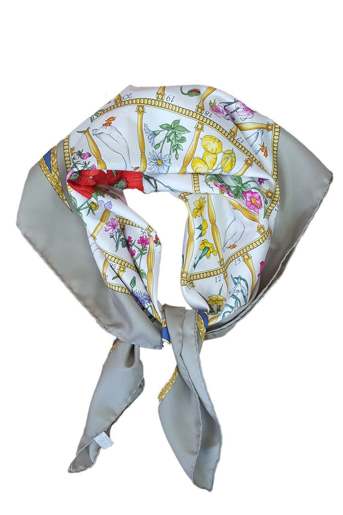 "VINTAGE GUCCI Flowers and Farm Animals Silk Scarf 30""-Gucci-The Freperie"
