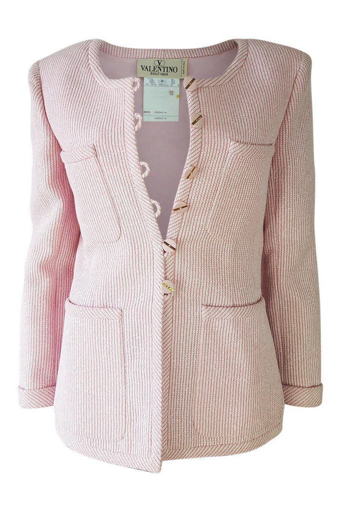 VINTAGE VALENTINO Boutique Pink Boucle Wool Jacket (8)-Valentino-The Freperie