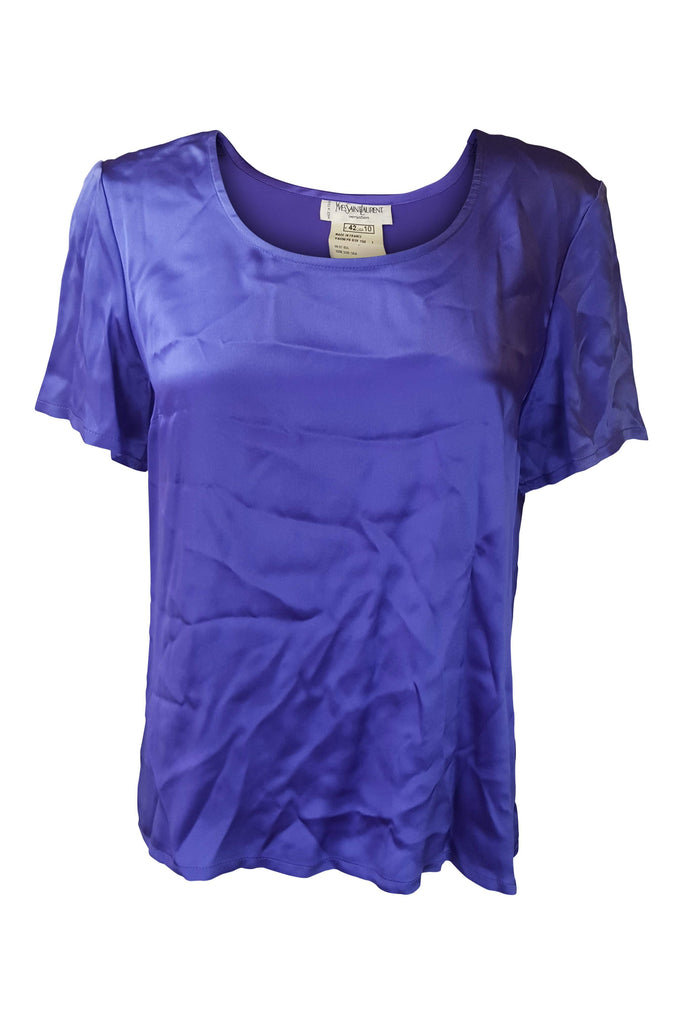YVES SAINT LAURENT Vintage Silk Lilac T-Shirt Blouse (US 10)-Yves Saint Laurent-The Freperie