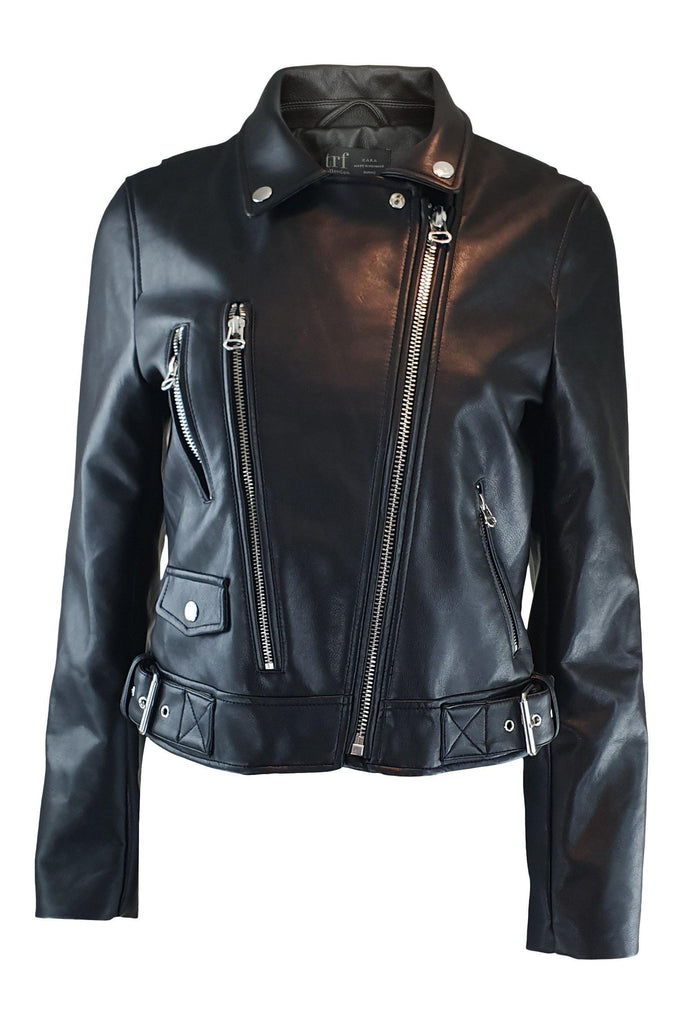 ZARA TRF Collection 19 Black Faux Leather Jacket (S)-Zara-The Freperie