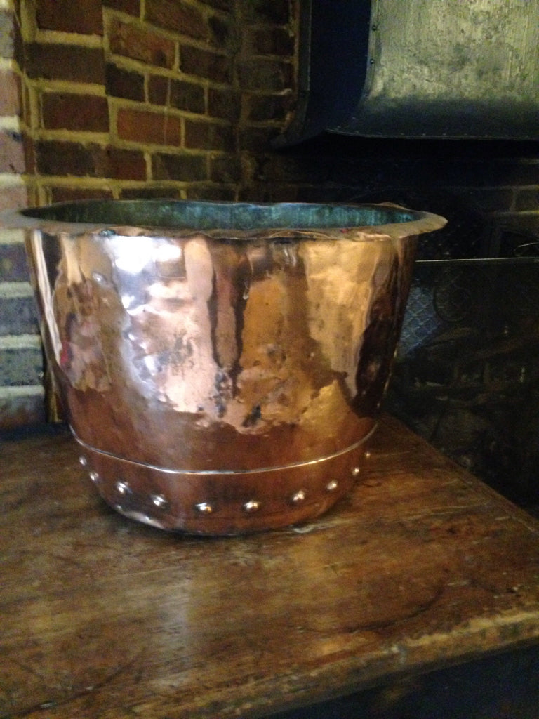 Riveted copper log basket