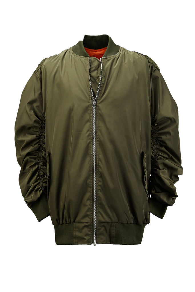 Shirring Flight Jacket Khaki