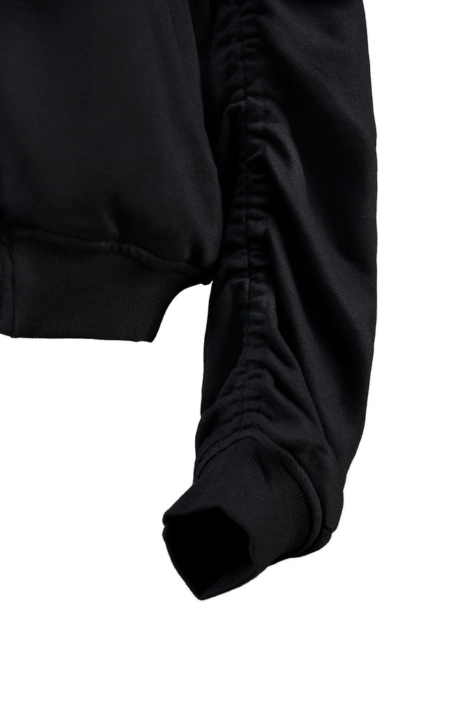 Shirring Sleeve Cotton Bomber Black