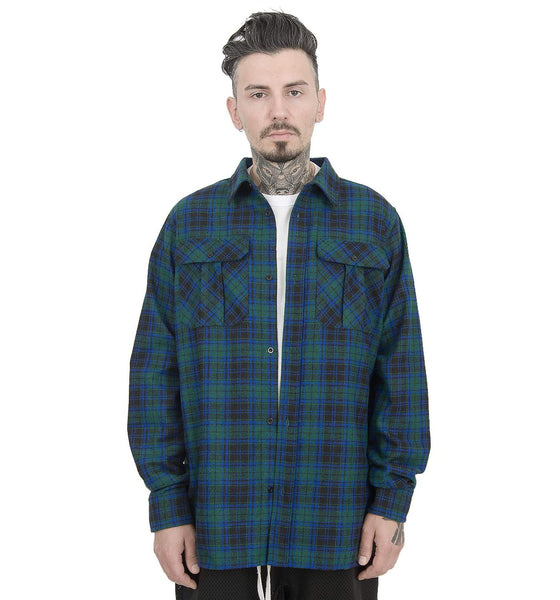 HEAVY NAVY GREEN FLANNEL SHIRT