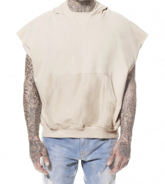 SAND REVERSE POCKET SLEEVELESS HOODIE
