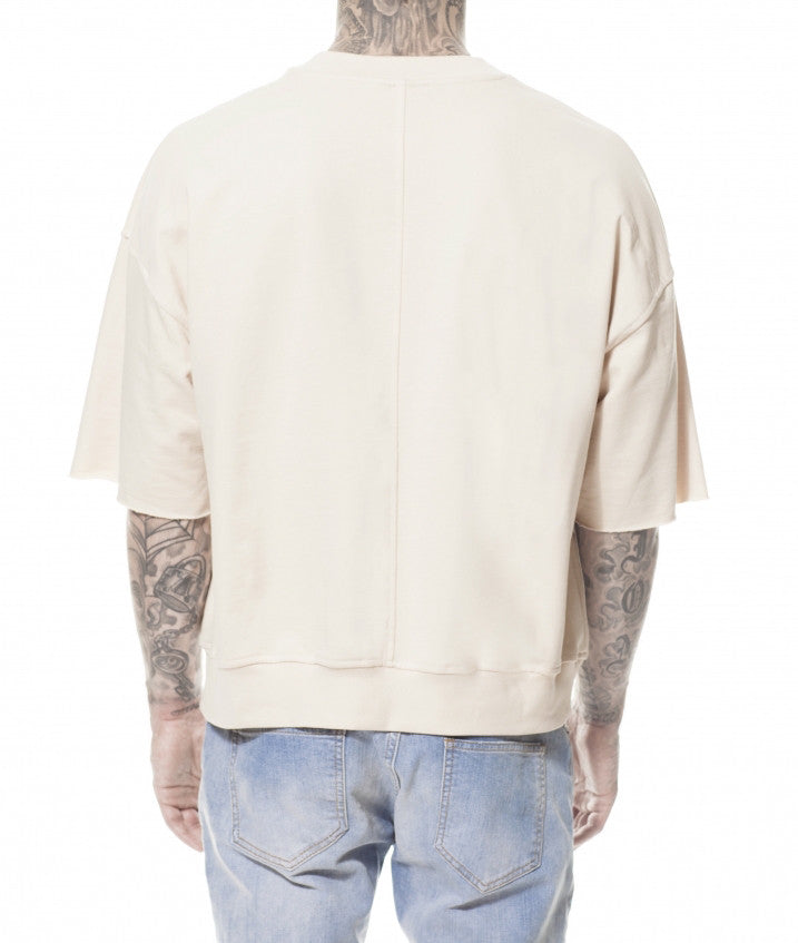 SAND REVERSE POCKET OVER SWEATER