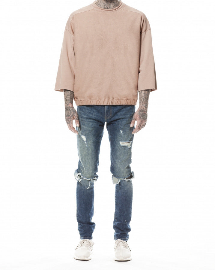 CAMEL REVERSE FRONT ¾ SLEEVE SWEATER