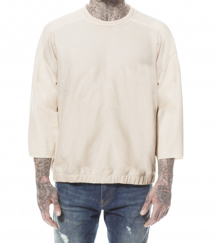 SAND REVERSE FRONT ¾ SLEEVE SWEATER
