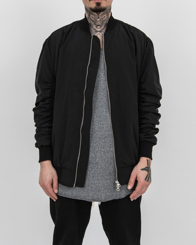Shirring Flight Jacket Black