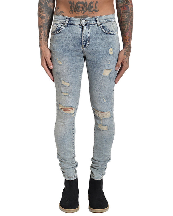 FARIA DESTROYED DENIM WASHED TINT