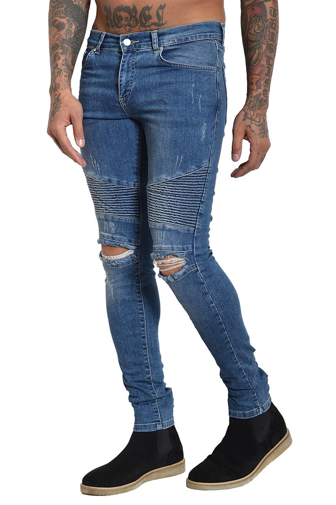 BRIAN BIKER DENIM SAND WASHED BLUE