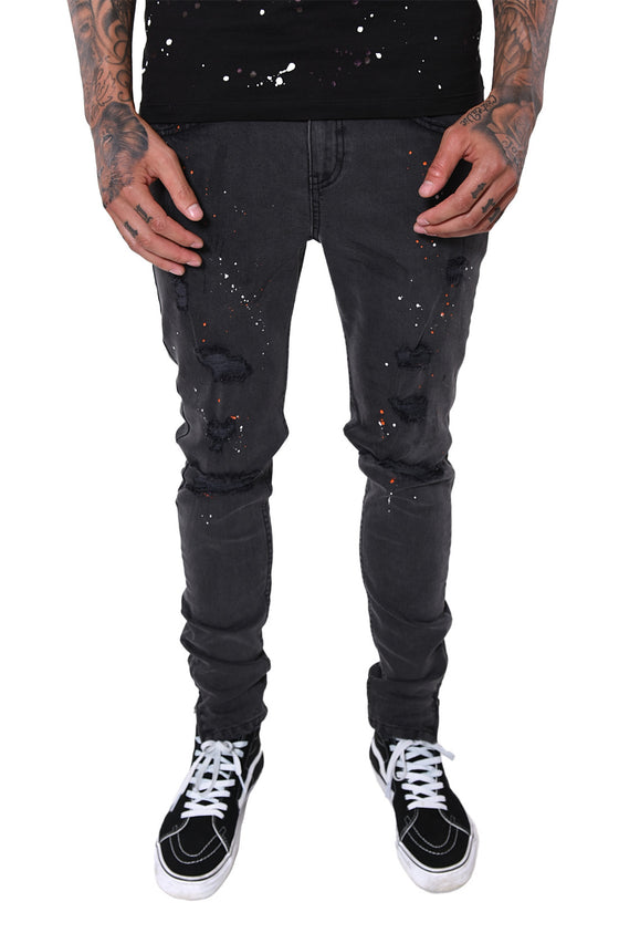 FARIA DESTROYED ZIP DENIM SPLASH GREY