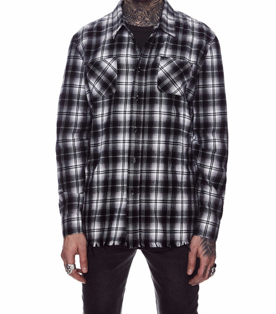 FRINGE FLANNEL SHIRT BLACK