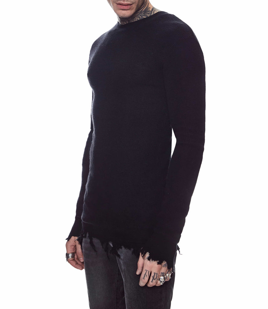 DISTRESSED WOOL SWEATER BLACK