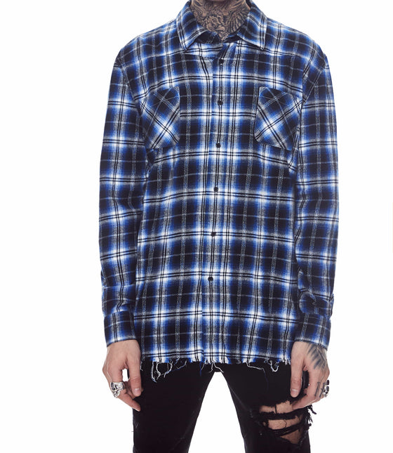 FRINGE FLANNEL SHIRT BLUE