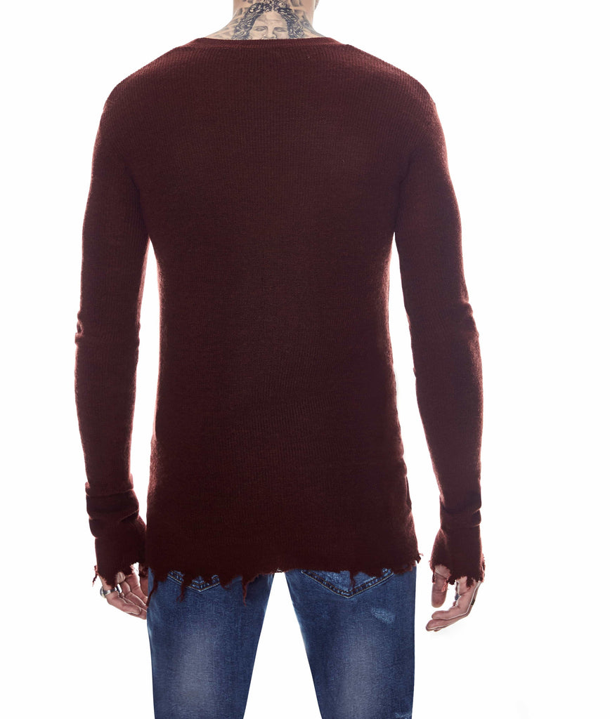 DISTRESSED WOOL SWEATER WINE