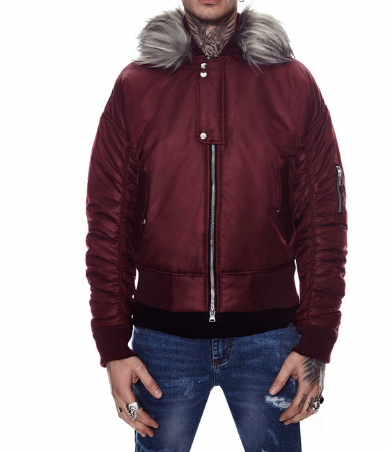 HOODED BOMBER JACKET WINE