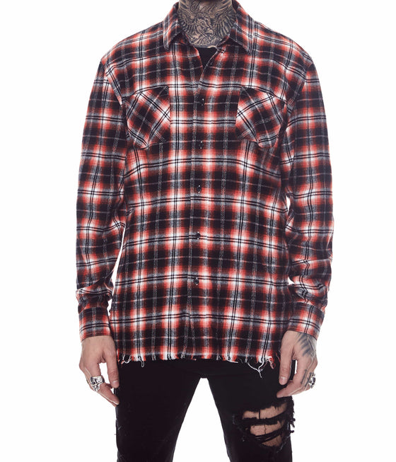 FRINGE FLANNEL SHIRT RED