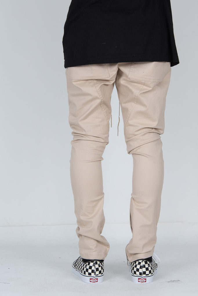 Premium Beige  Riri Zip Slim Fit Pants