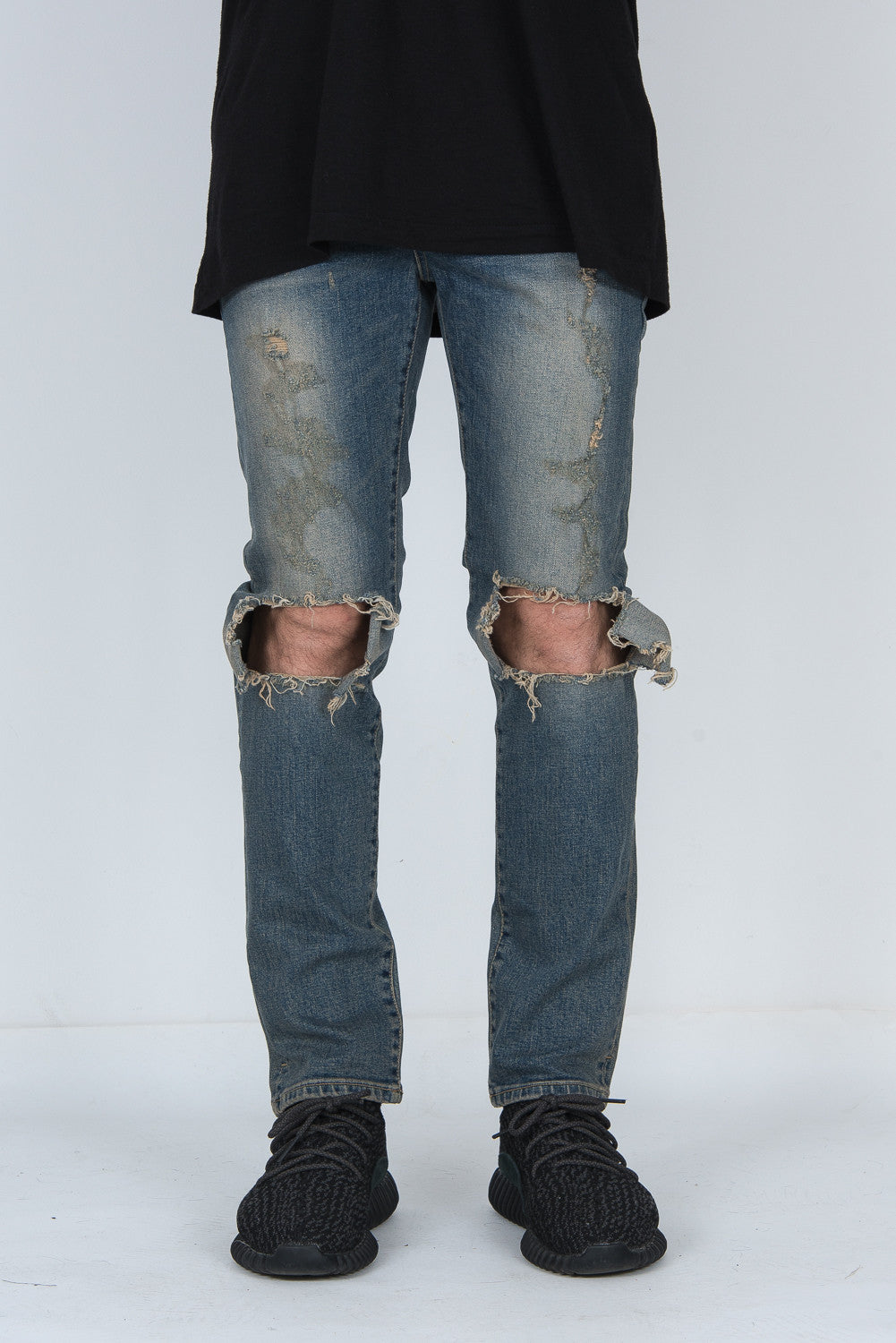 Dark DESTROYED KNEE RIPPED SUPER SKINNY JEANS