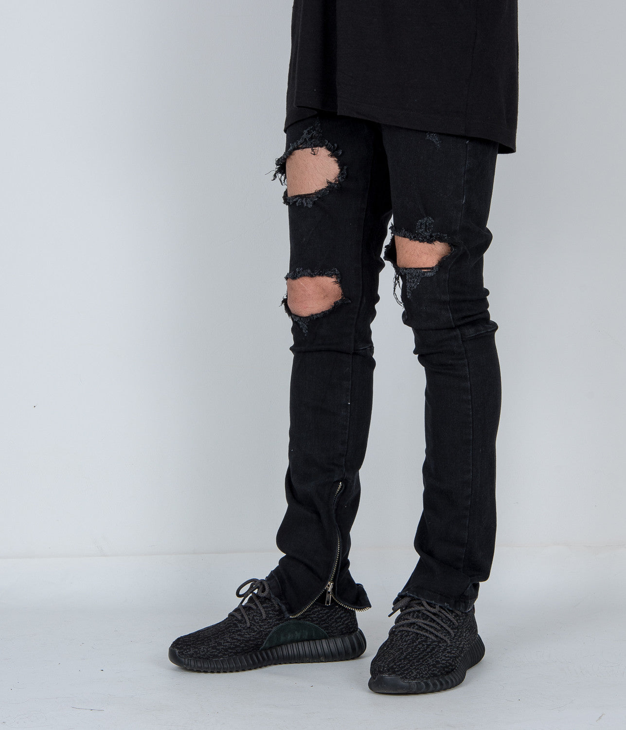 Vintage Destroyed Zip Denim Black Jeans