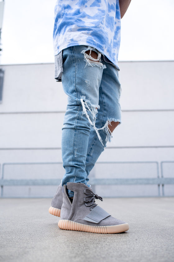Blue Distressed Zip Jeans