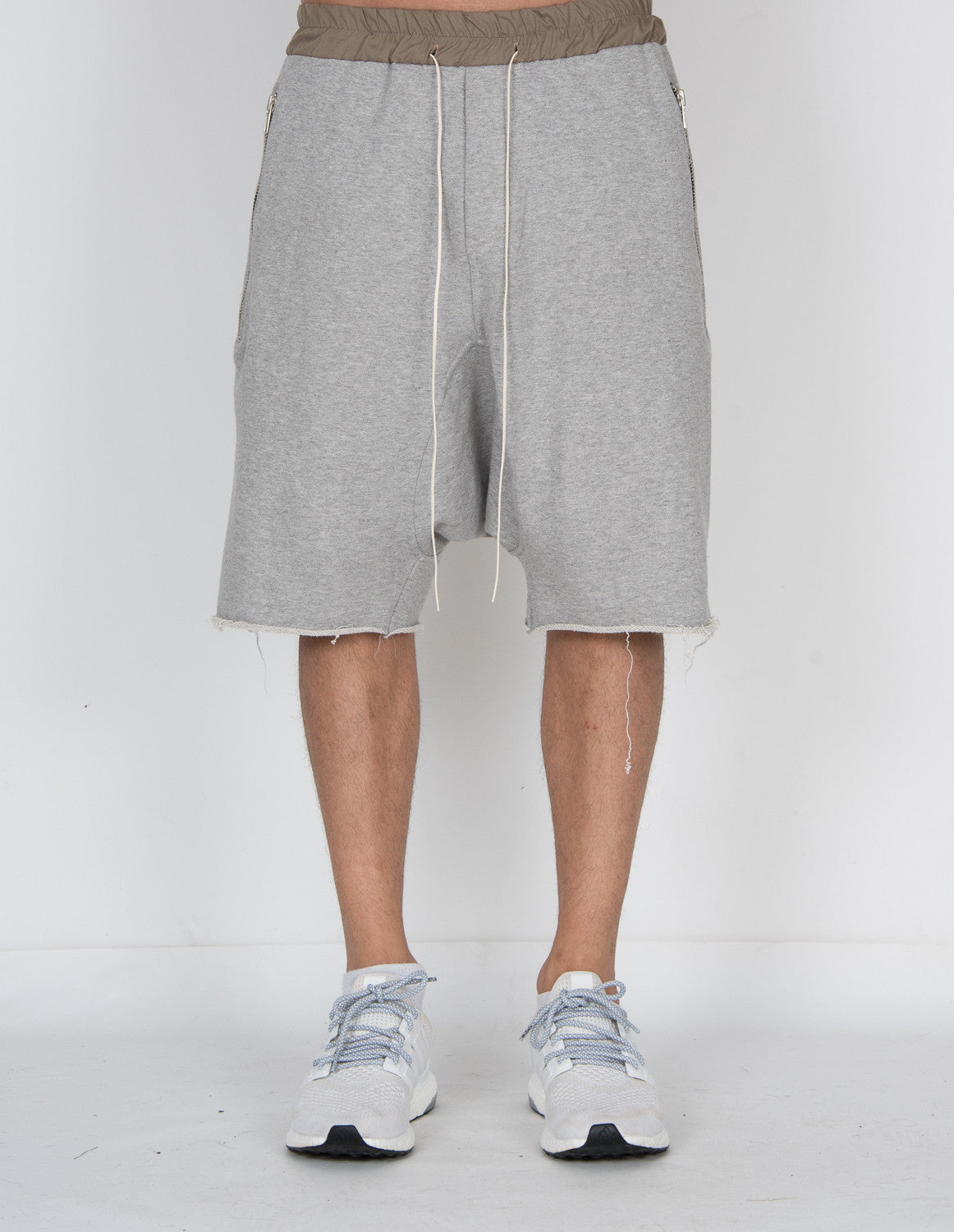 Zipper Pleated Dropp Shorts GREY