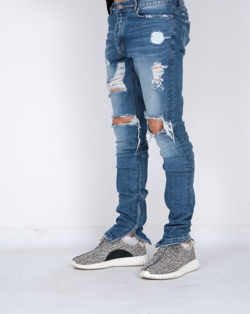 Premium Blue Distressed Denim