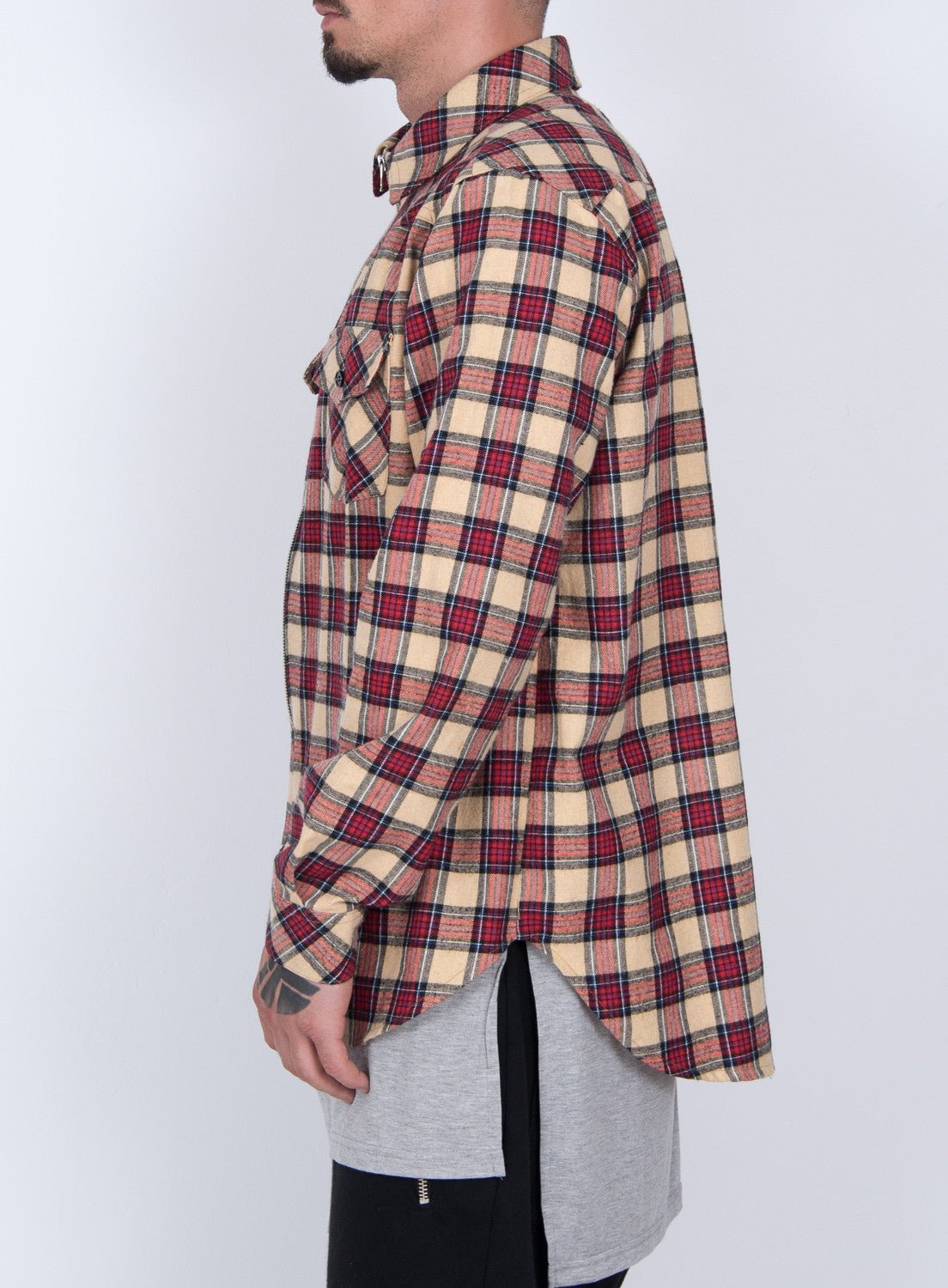 BEIGE TARTAN PLAID ZIP UP FLANNEL SHIRT