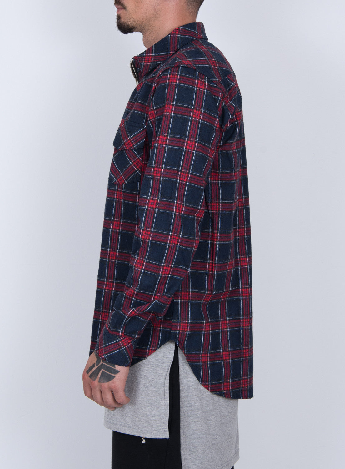 NAVY TARTAN PLAID ZIP UP FLANNEL SHIRT