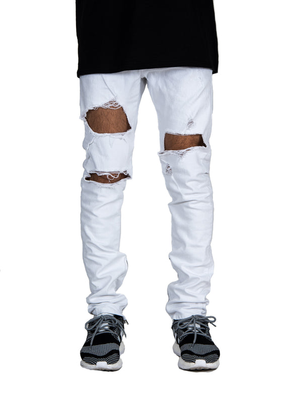 Vintage Destroyed Zip Denim WHITE Jeans