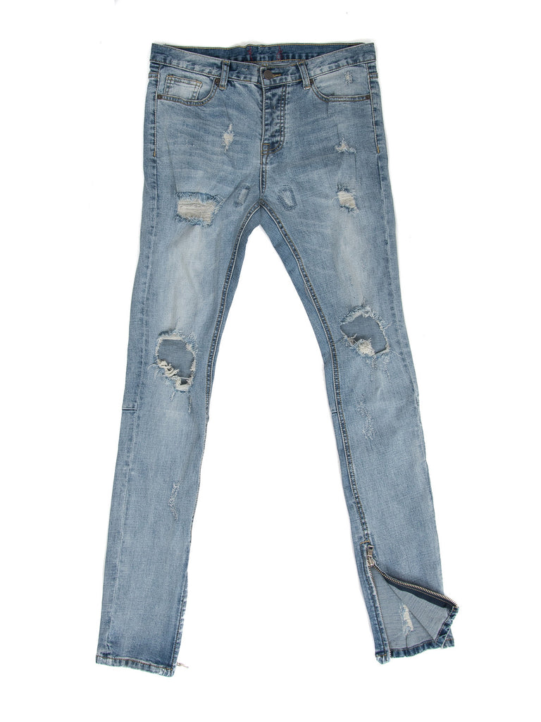 Inner Zip Blue Washing Knee Ripped Jeans