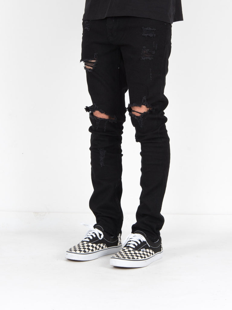 INNER ZIP BLACK WASHING KNEE RIPPED JEANS