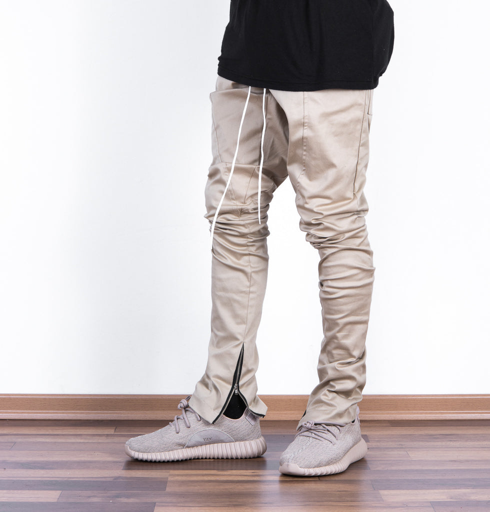 SLIM FIT BEIGE COTTON ZIP PANTS