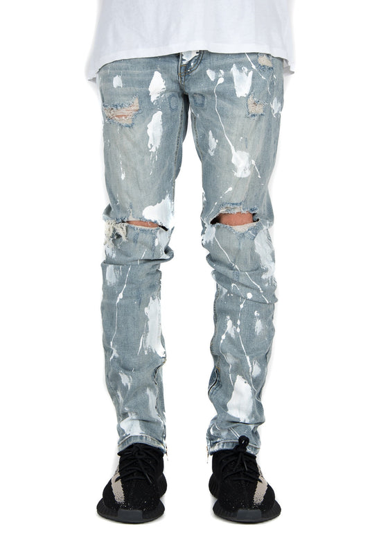 Distressed Paint Zipper Jeans
