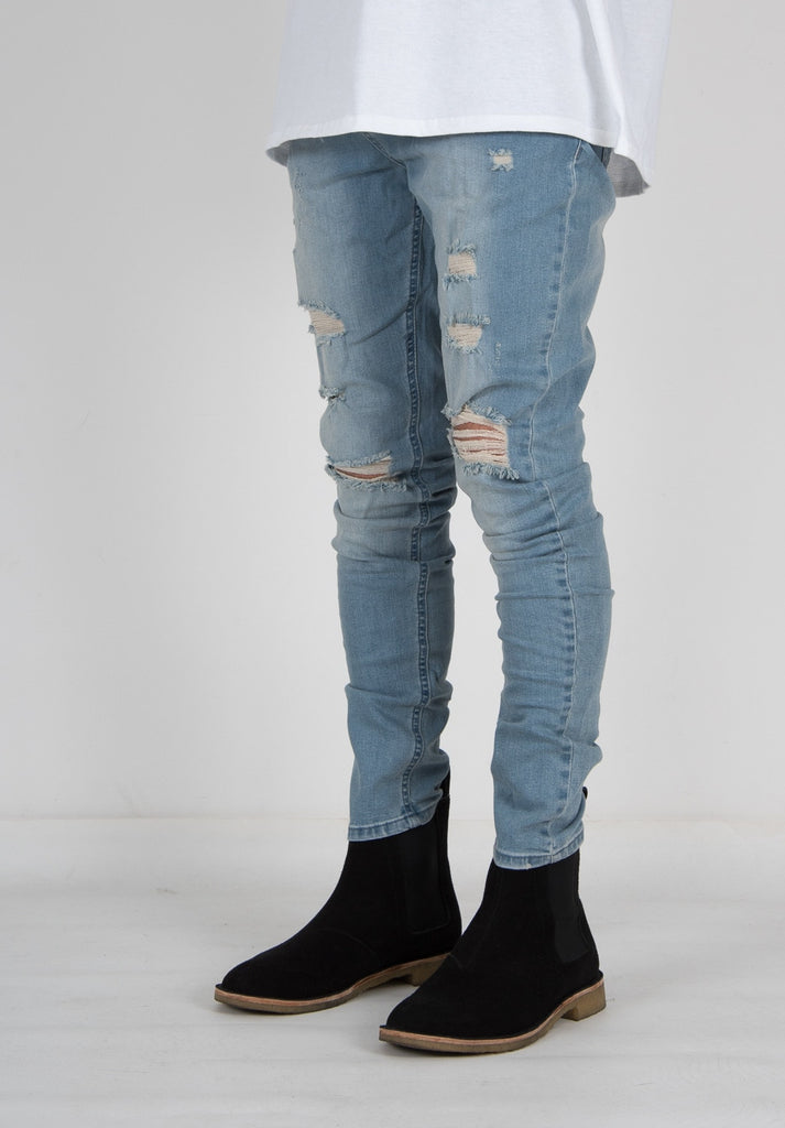 FARIA DESTROYED DENIM LIGHT BLUE