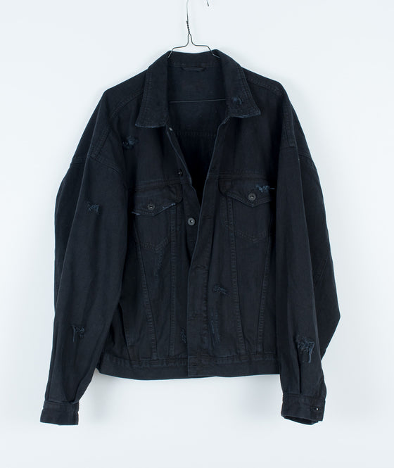 DENIM JACKET BLACK DISTRESSED