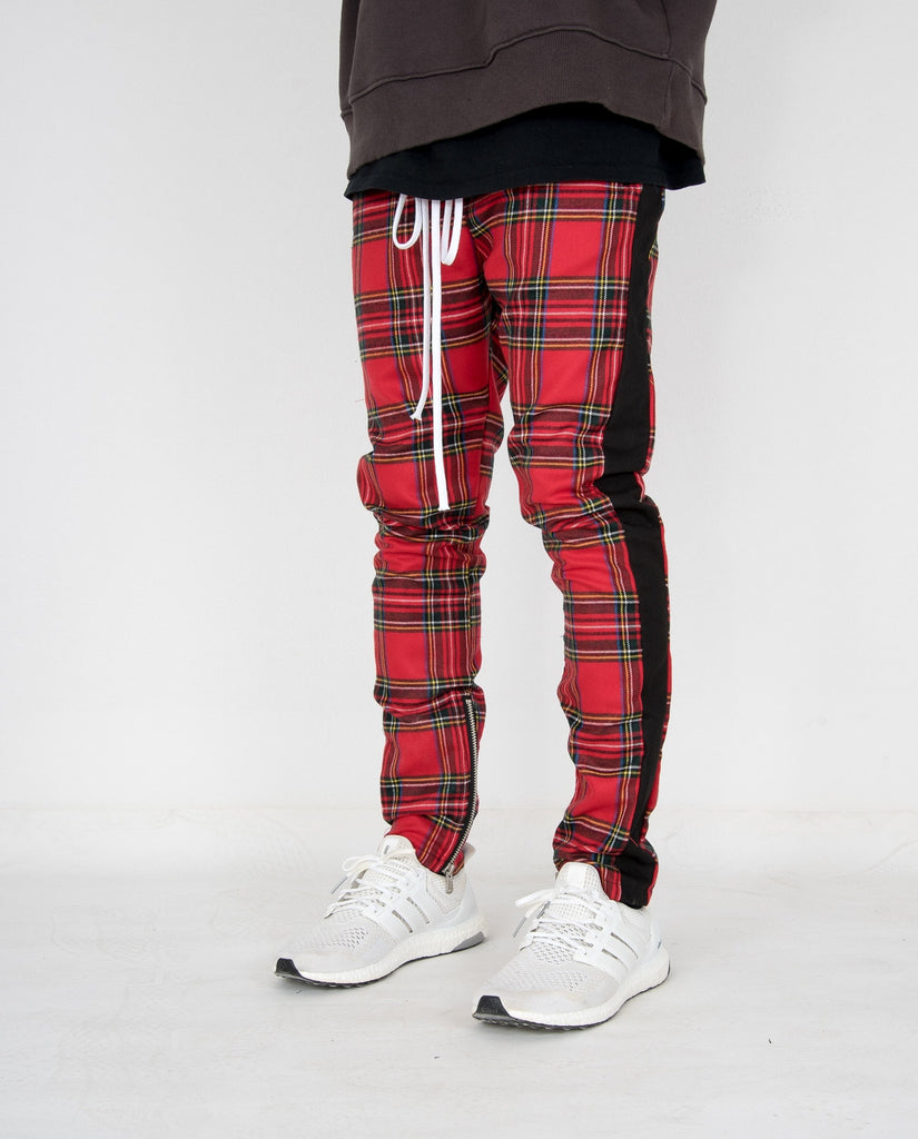 Tartan Zipper Pants Red