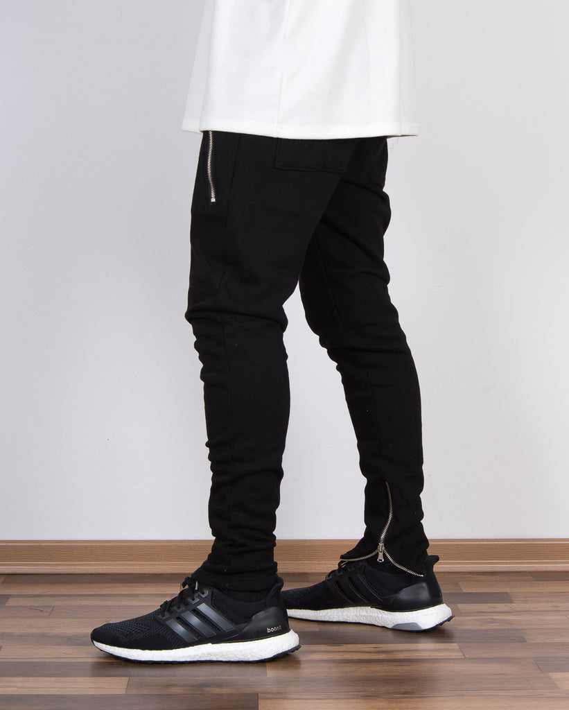 Black Inner Ankle Zip Jogger