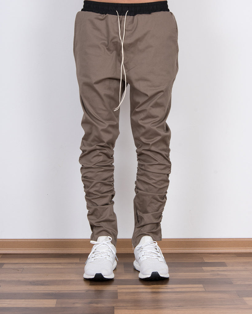 Inside Zip Detail Shirring Cotton Pants Tan