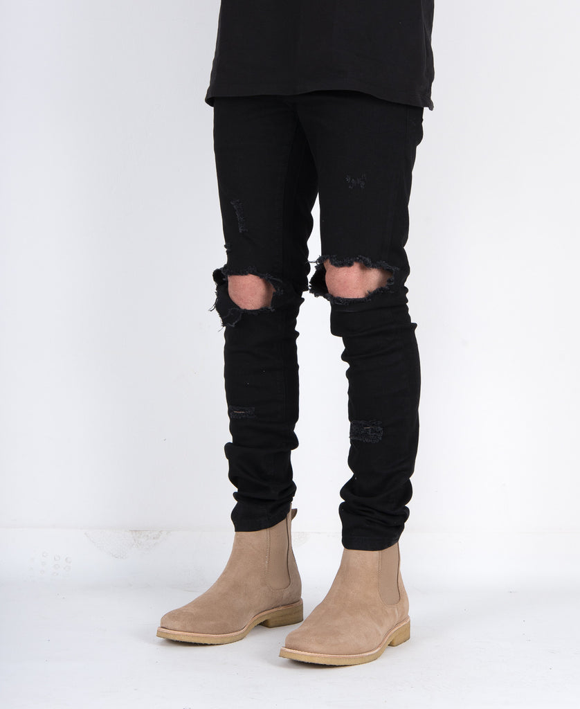 Black Distressed Denim Super Skinny Stretch