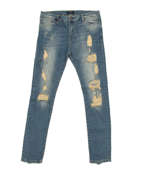 Sand Blue Destroyed Knee Jeans