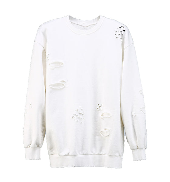 Knife Cut Sweatshirt White