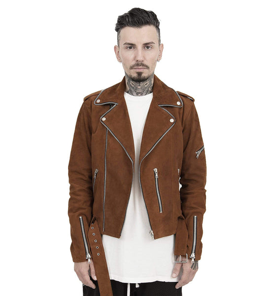 COGNAC ZIP LEATHER JACKET