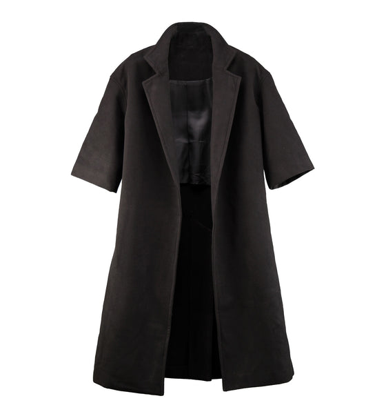 Half Sleeve Wool Coat Schwarz