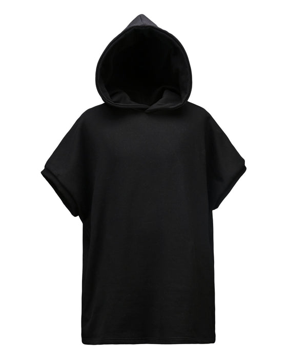 Black Incision Line Sleeveless Hoodie