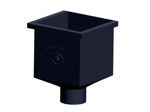 100mm Black Prelaq Steel Square Rainwater Hopper