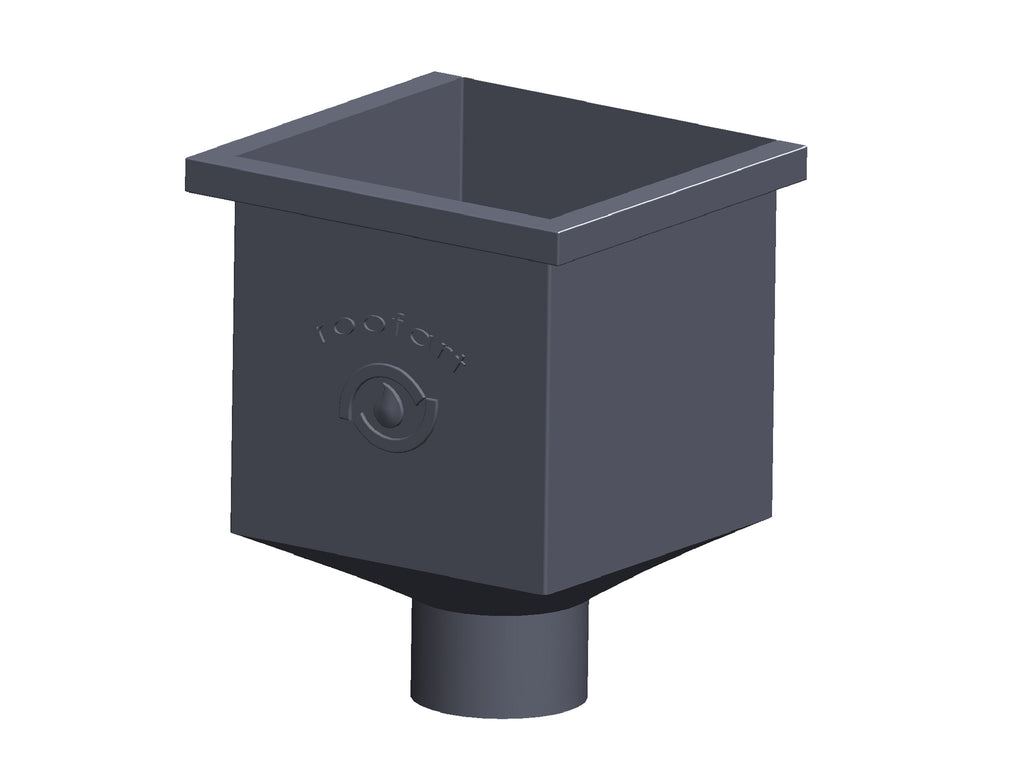 87mm Dark Grey Prelaq Steel Square Rainwater Hopper