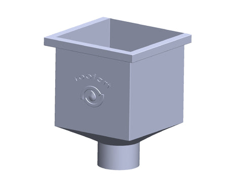 100mm Plain Galvanised Square Rainwater Hopper